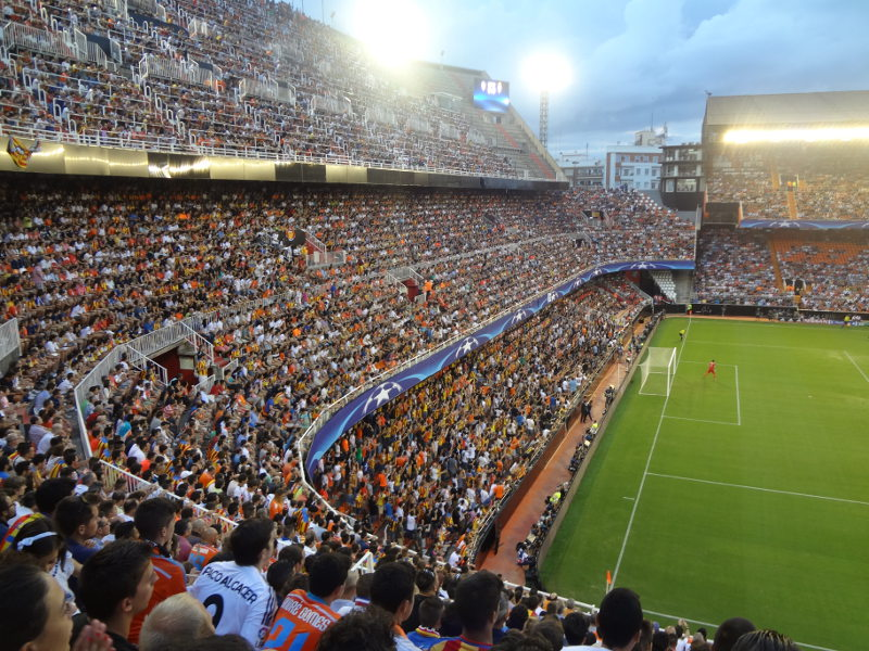A general view of the Mestalla Stadium is seen prior to the UEFA ...