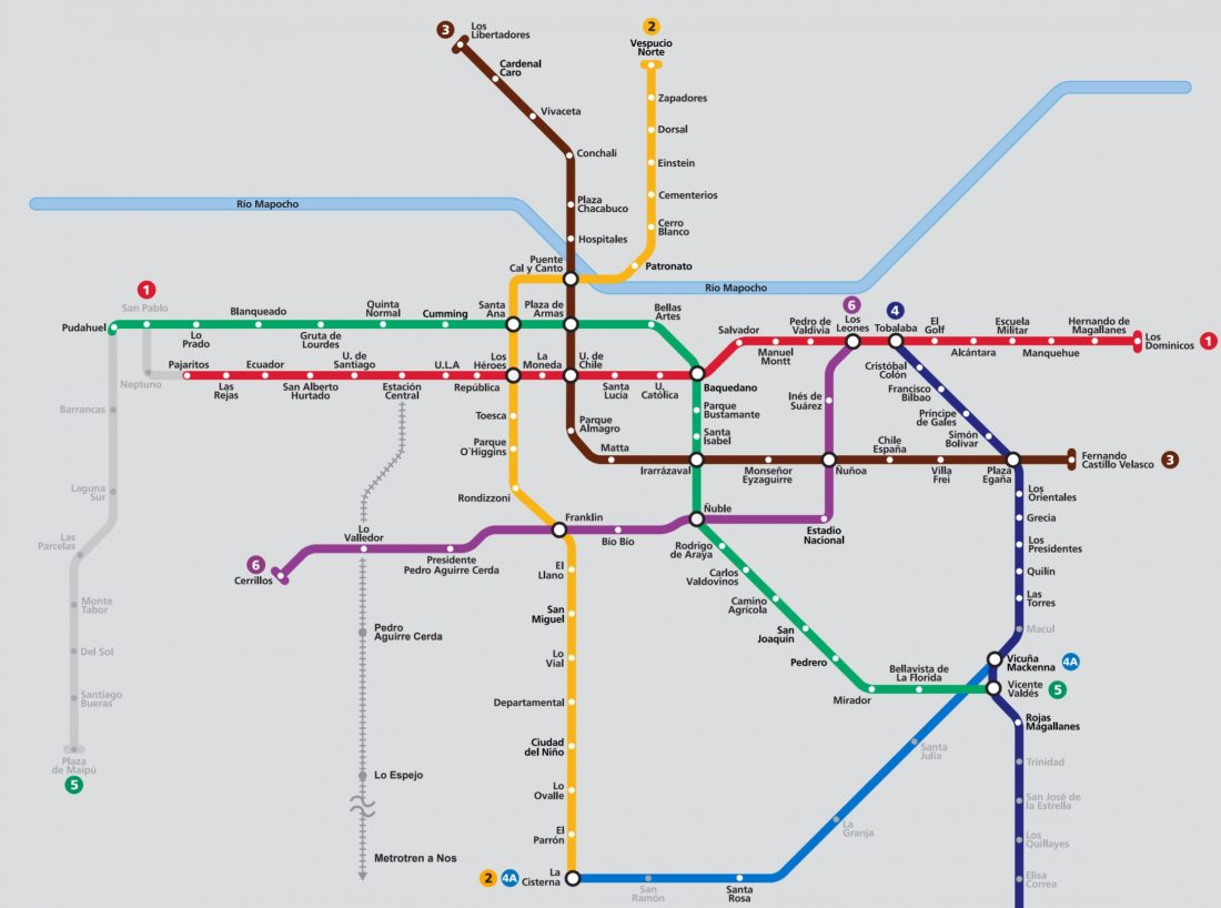 Santiago metro map